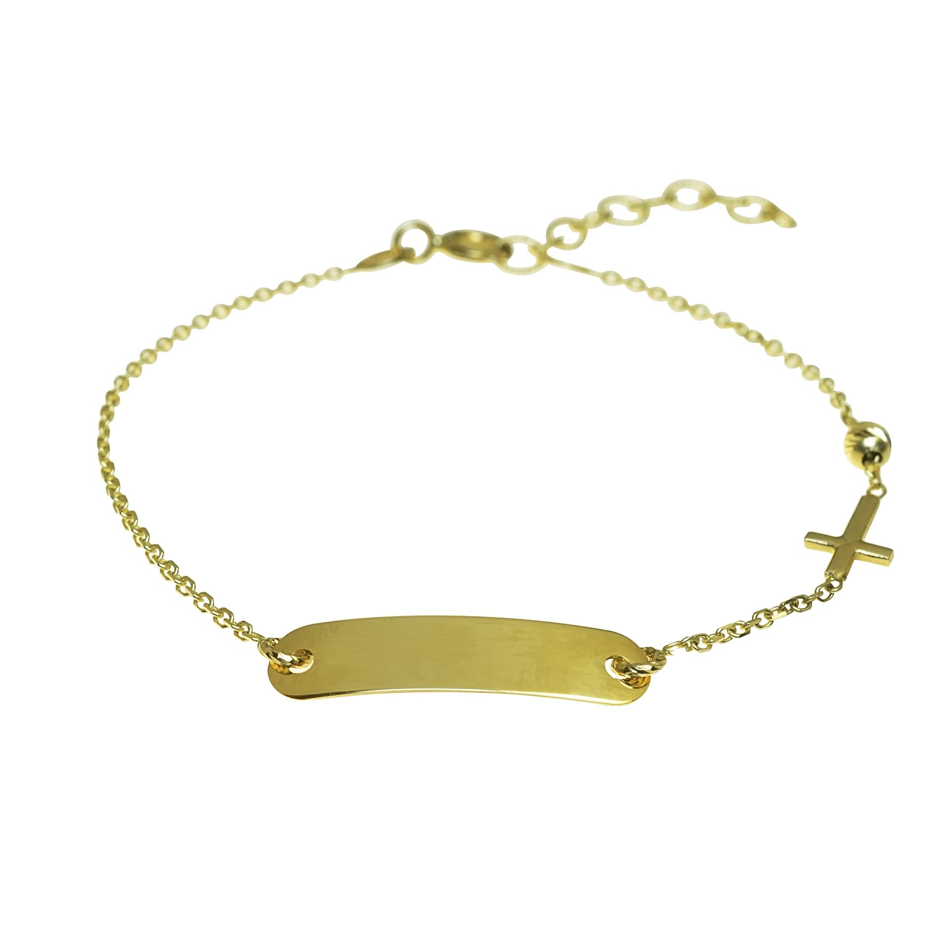 eacbc314a GOLDIE - Náramky - Zlatý náramok krížik s plieškom