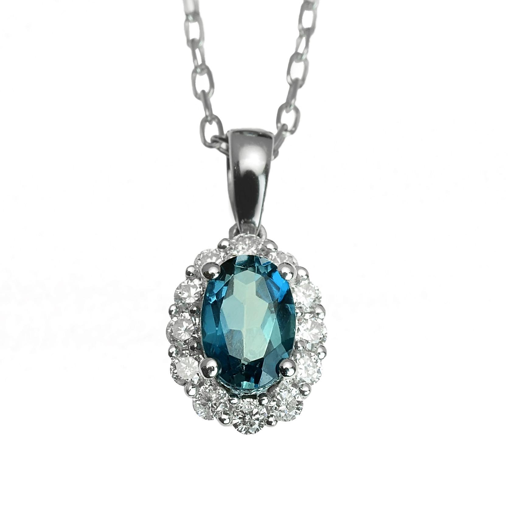 052295651 GOLDIE - Prívesky - Zlatý prívesok s london blue topásom a diamantmi